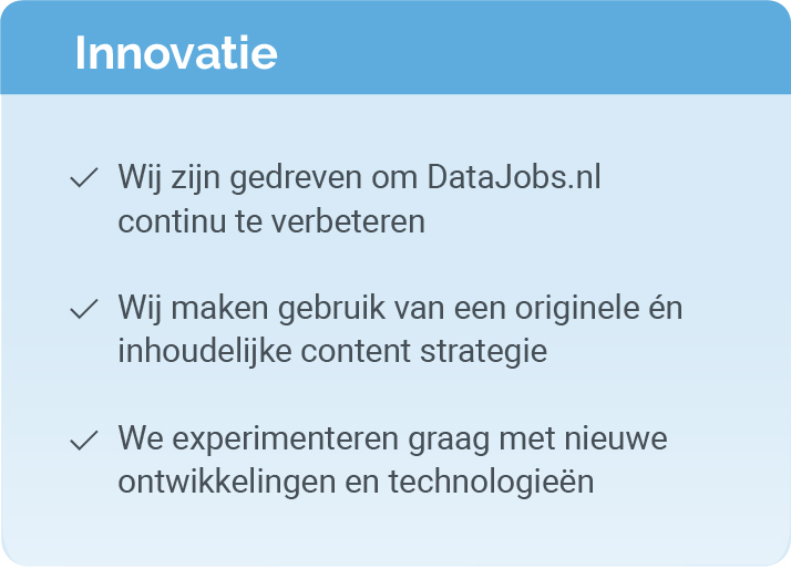 Innovatie bij Data Jobs